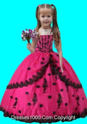 Scoop Hot Pink Ball Gown Applique Organza Little Girl Pageant Dress