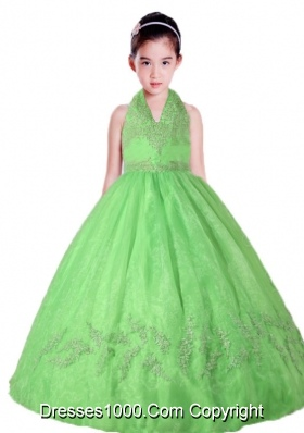 Spring Green Halter Top Neck Appliques Little Girl Pageant Dress