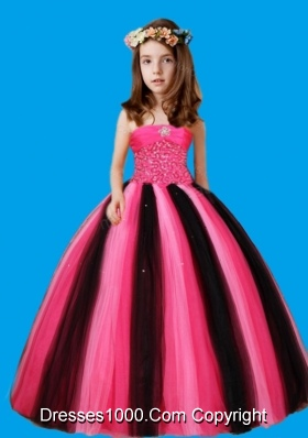 Strapless Ball Gown Beaded Decorate Waist Litle Girl Pageant Dress