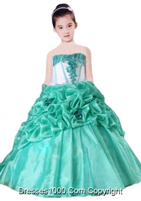 Strapless Pick-ups Hand Made Flowers Ball Gown 2014 Little Girl Pageant Dress