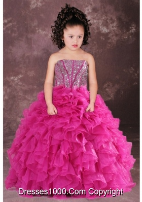 Sweet Hot Pink Strapless Beading Ruffles Little Girl Pageant Dress