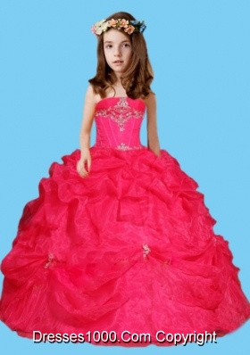 Sweet Red Ball Gown Red Little Girl Pageant Dress with Beading and Pick Ups