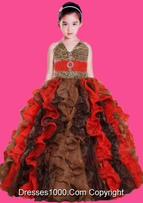 V-neck Multi-color Ruffles Little Girl Pageant Dress with Leopard