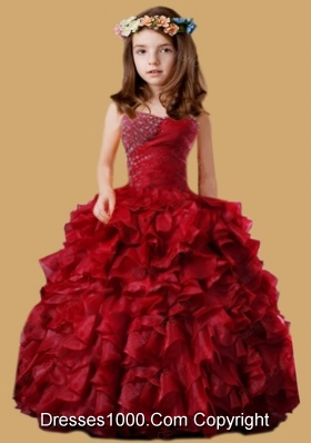 Wine Red Little Girl Pageant Dress with Beading and Ruffled Layers
