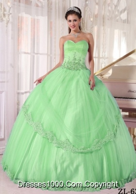 2014 Quinceanera Dress in Apple Green Ball Gown Sweetheart with Appliques