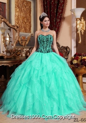 Aqua Blue  Sweetheart  Organza Embroidery Quinceanera Dress with Beading