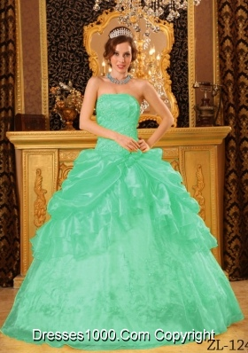 Ball Gown Strapless Quinceanera Dress In Apple Green with Appliques and Pick-ups