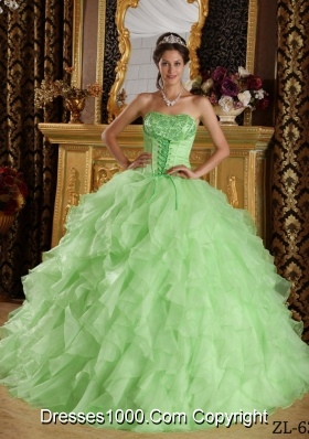 Beautiful Apple Green Ball Gown Strapless with Embroidery and Ruffles Quinceanera Dress