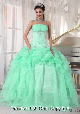 Perfect Apple Green Ball Gown Strapless with Beading and Ruffles Quinceanera Dress