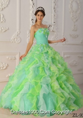 Popular Multi-Color Ball Gown Strapless with Hand Flowers and Ruffles Quinceanera Dress