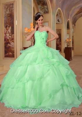 Quinceanera Dress in Apple Green Ball Gown Sweetheart with Beading and Ruffles