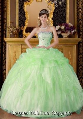 2014 Cute Apple Green Ball Gown Strapless Beading Quinceanera Dress