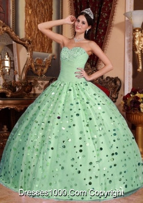2014 Hot Apple Quinceanera Dress Green Sweetheart Ball Gown with Sequins