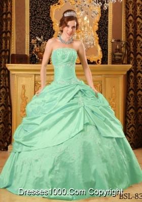 2014 Spring Apple Green Ball Gown Strapless Floor-length Taffeta Beading Quinceanera Dress