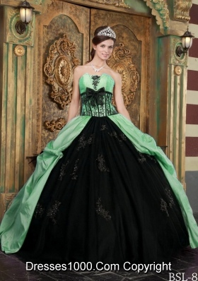 Affordable Apple Green Ball Gown Strapless with Appliques and Bow Quinceanera Dress