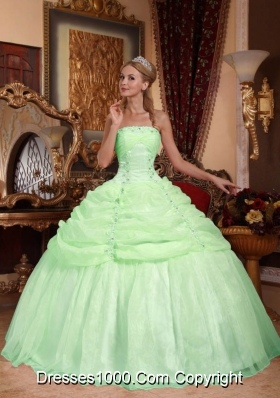 Apple Green Strapless Ball Gown with Appliques and Beading Quinceanera Dress