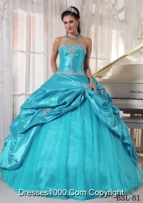 Aqua Blue Ball Gown Strapless 2014 Pretty Quinceanera Dress with Appliques