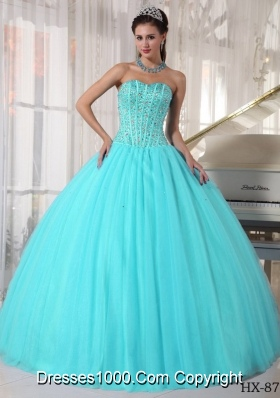 Aqua Blue Ball Gown Sweetheart Floor-length Quinceanera Dress with Tulle Beading