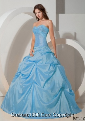 Aqua Blue Ball Gown Sweetheart Floor-length Taffeta Quinceanera Dress with Beading