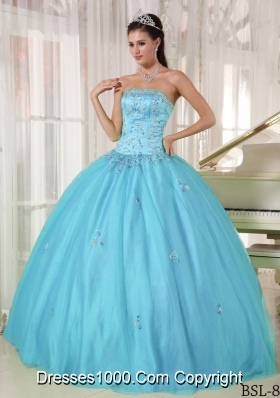 Aqua Blue Strapless Floor-length Taffeta and Tulle Quinceanera Dress with Appliques