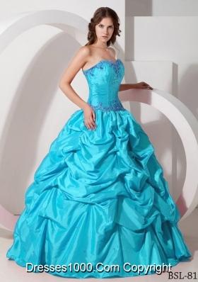 Aqua Blue Strapless Floor-length Taffeta Ruching Quinceanera Dress