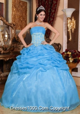 Baby Blue Ball Gown Strapless Quinceanera Dress with  Organza Appliques