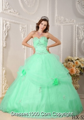 Beautiful Quinceanera Dress Ball Gown Sweetheart with Appliques in Apple Green