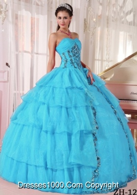 Cheap Aqua Blue  Ball Gown Sweetheart Quinceanera Dress with  Organza Paillette