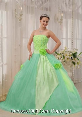 Colourful Ball Gown Strapless with Hand Made Flowers Quinceanera Dress