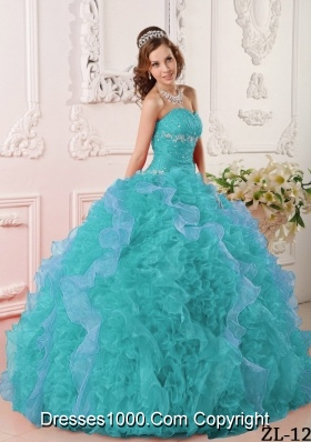 Inexpensive Turquoise Ball Gown Sweetheart Appliques Quinceanera Dress with Beading