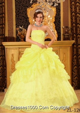 Organza Strapless Appliques and Pick-ups for Yellow Sweet 15 Dresses