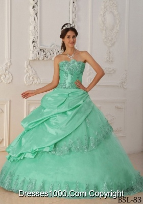 Petty Sweetheart Quinceanera Dress in Apple Green Princess with Beading and Appliques
