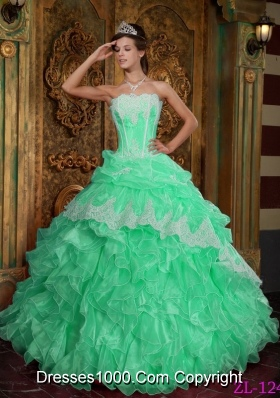 Popular Apple Green Ball Gown Strapless with Ruffles Quinceanera Dress