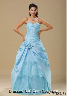 Popular Sweetheart Aqua Blue Quinceanera Dresses with Hand Made Folwers and Ruching