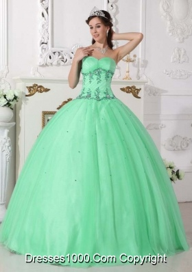 Quinceanera Dress in Apple Green Ball Gown Sweetheart with Beading and Appliques