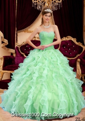 Quinceanera Dress in Apple Green Ball Gown Sweetheart with Beading and Pleats