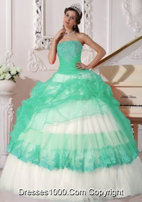 Quinceanera Dress in Colourful Ball Gown Strapless with Appliques