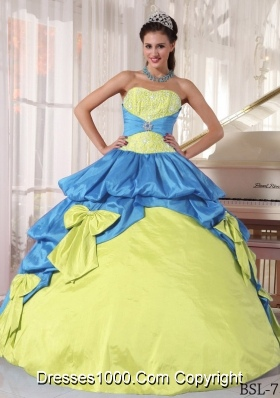Sweetheart Embroidery and Bow Quinceanera Dresses in Yellow Green and Blue