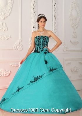 Turquoise Ball Gown Strapless Floor-length Quinceanera Dress Organza