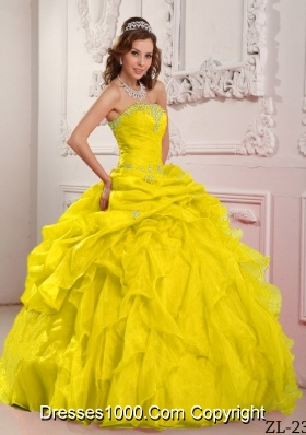 Yellow Sweet 15 Dresses with Organza Beading and Ruffles Strapless