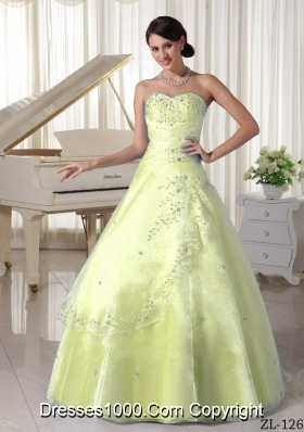 Organza Appliques with Beading Sweetheart Quinceanera Dress for Military Ball