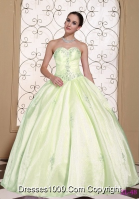 Sweet 2014 Puffy Quinceanera Gowns Sweetheart Beaded Decorate Bust