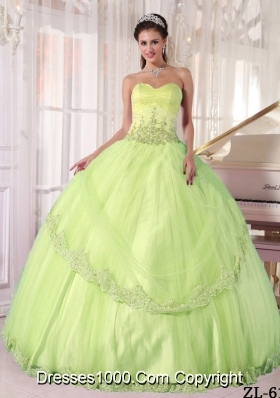 Sweetheart Discount Yellow Green Quinceanera Dress with Appliques
