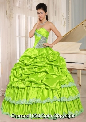 2014 Yellow Green Beaded Appliques and Pick-ups Quinceanera Dresses Gowns For Custom Made