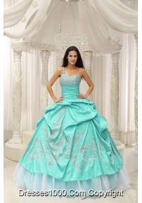 Apple Green One Shoulder Embroidery Decorate Quinceanera Dress With Organza