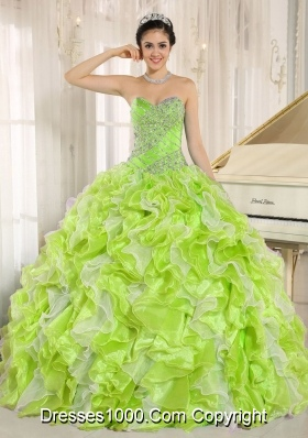 Beaded and Ruffles Yellow Green Dresses Quinceanera For Custom Made
