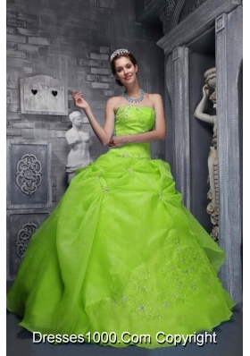 Beautiful Strapless Organza Embroidery Spring Green Dresses Of 15
