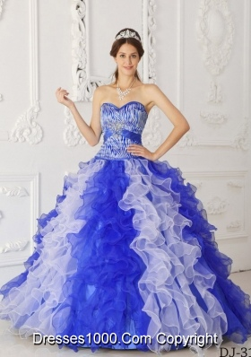 2014 Multi-color Ball Gown Sweetheart Ruffles and Beading Quinceanera Dress