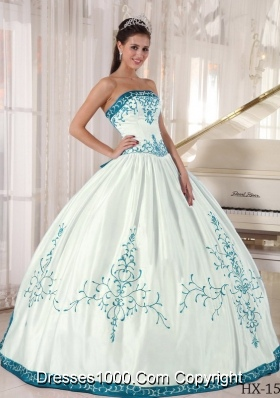 Blue And White Ball Gowns White and Blue Ball Gown