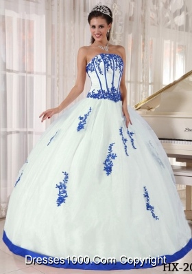blue and white ball gown quince dresses with fitted waist on cut ...
